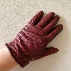 Oxblood leather and cashmere gloves